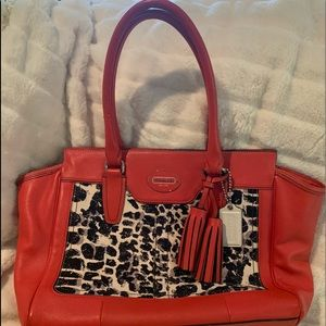 Coach leather legacy ocelot bag